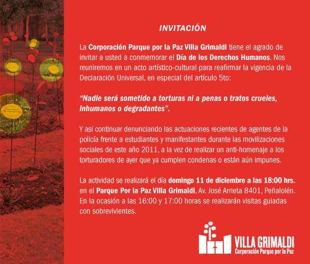 INVITACIÓN Día de los Derechos Humanos en Villa Grimaldi