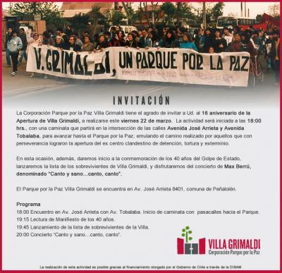 16 Aniversario Apertura Parque por la Paz Villa Grimaldi